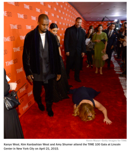 Amy Schumer Falls In Front Of Kayne West Kim Kardashian