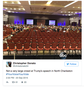Half-empty room for Trump